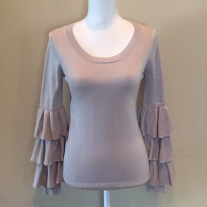 One Grey Day Silk Cotton Ruffle Sleeve Sweater NWT